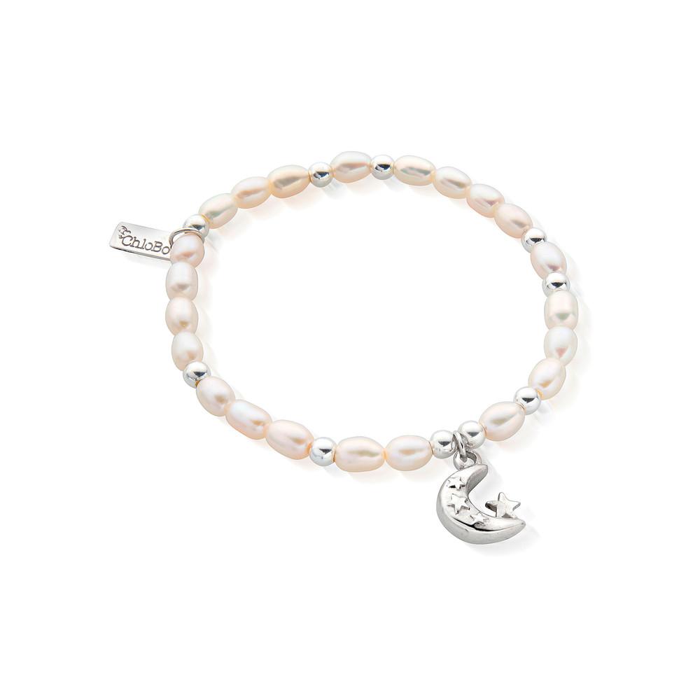 Mini Pearl Moon & Stars Bracelet - Pearl & Silver