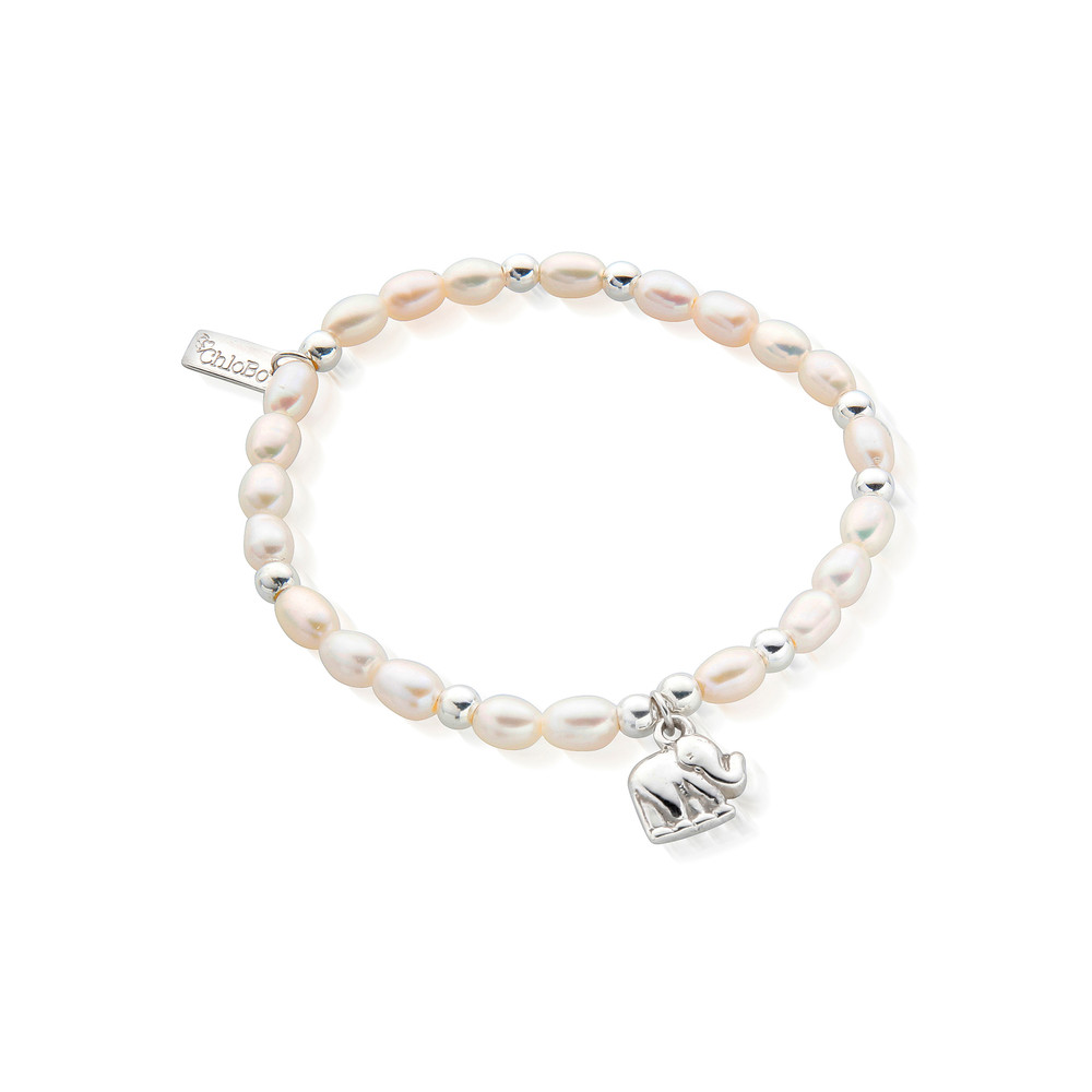 Mini Pearl Elephant Charm Bracelet - Pearl & Silver