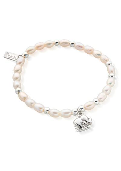 ChloBo Mini Elephant Charm Bracelet - Pearl & Silver main image