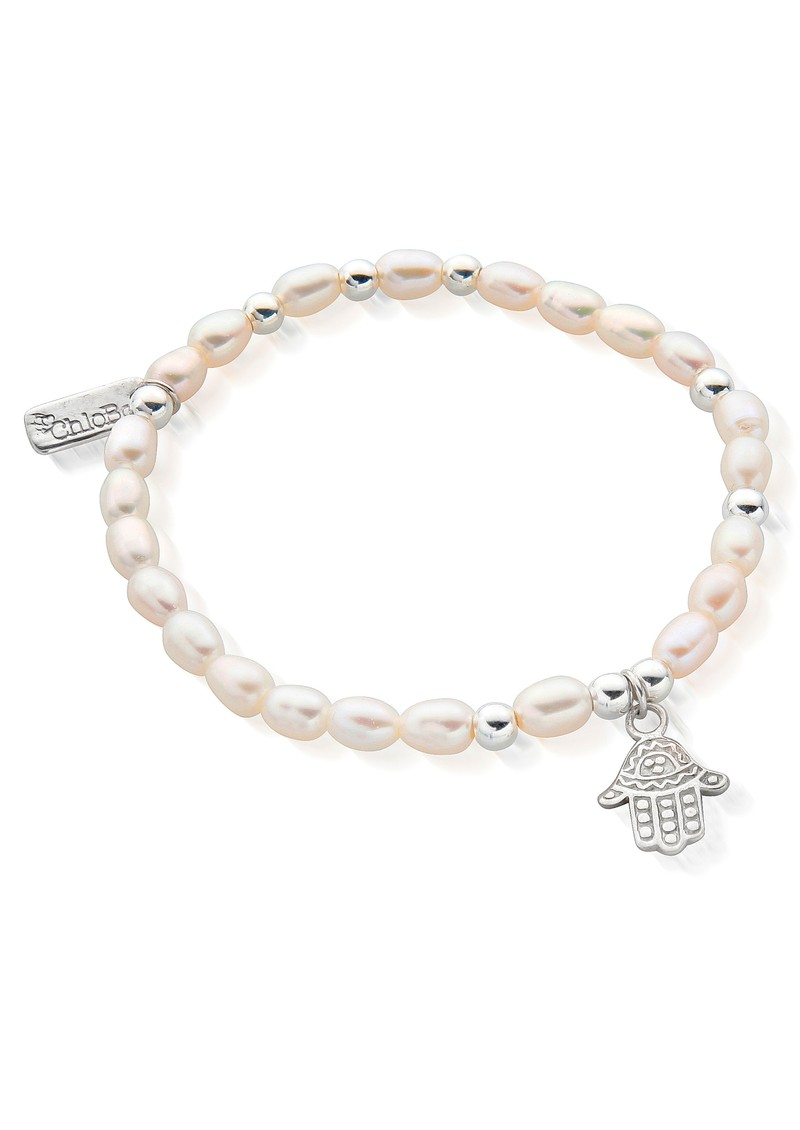 ChloBo Mini Hamsa Hand Bracelet - Pearl & Silver main image