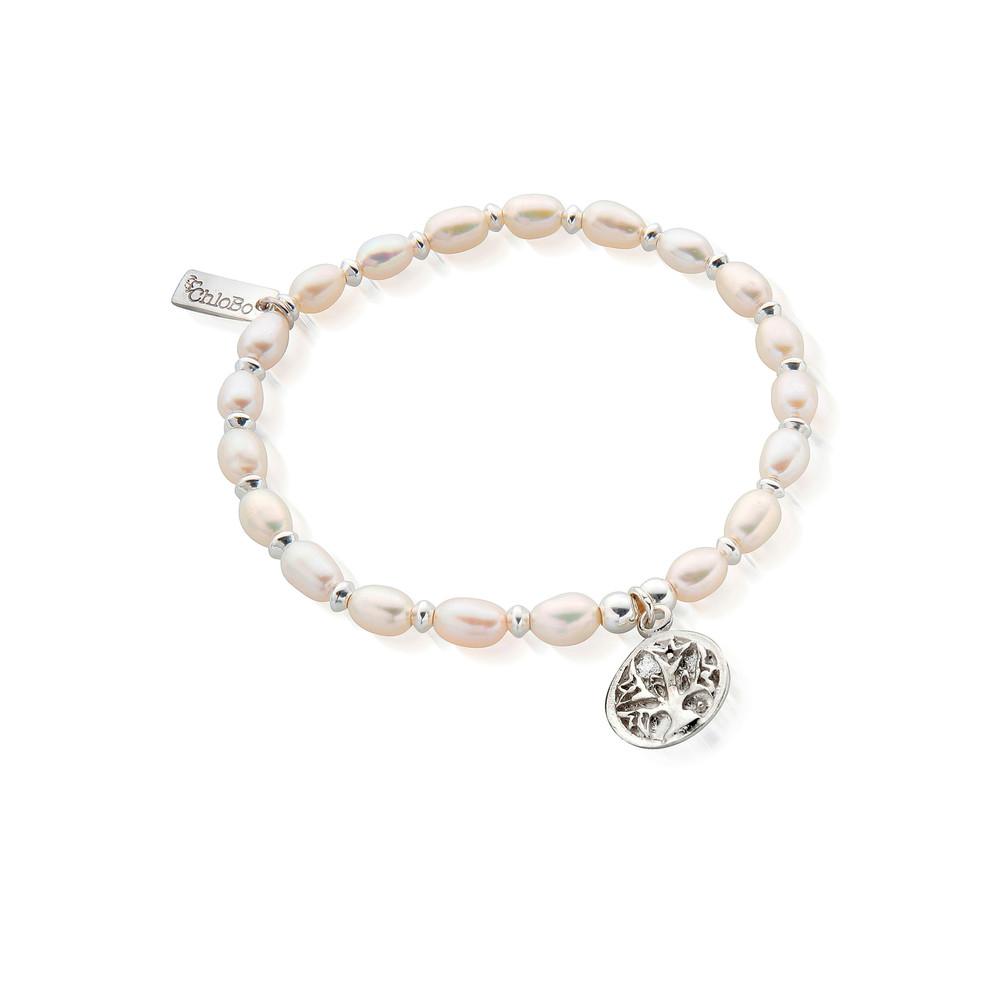 Mini Pearl Live Love Life Bracelet - Pearl & Silver