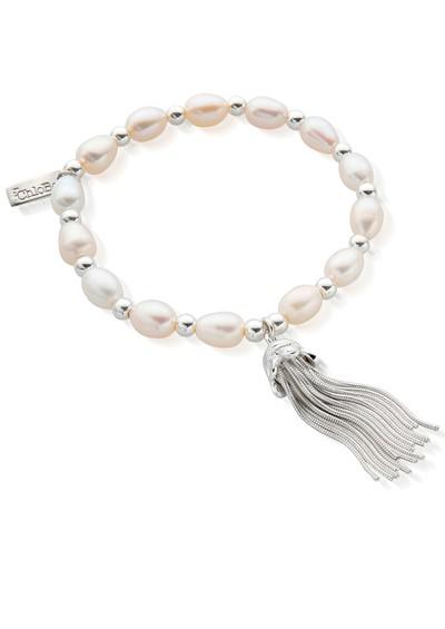 ChloBo Medium Tassel Bracelet - Pearl & Silver main image
