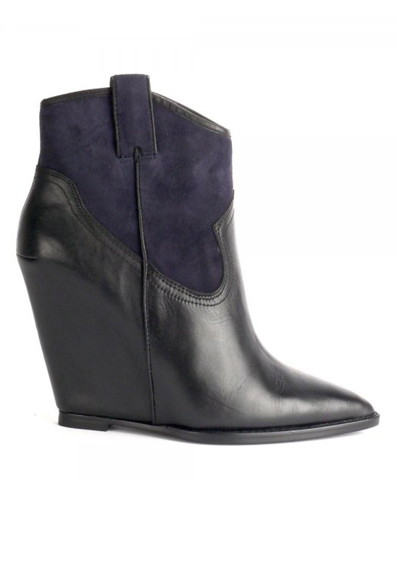 ash jude leather wedge shoes black midnight