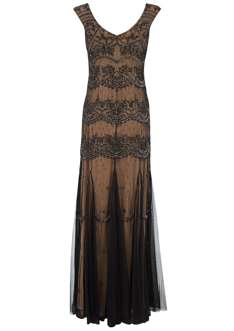 ADRIANNAPAPELL BEADED LONG VINTAGE DRESS - BLACK main image