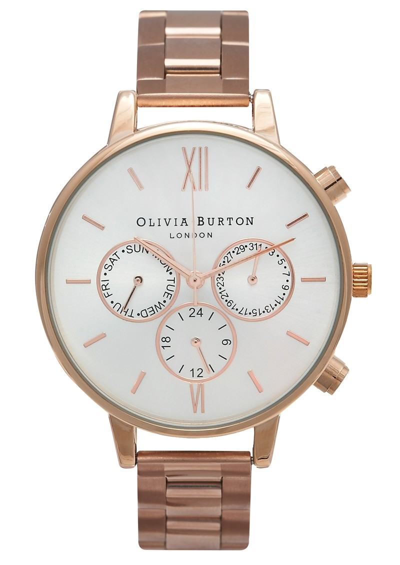 Olivia Burton CHRONO DIAL SILVER DETAIL BRACELET WATCH - ROSE GOLD  main image
