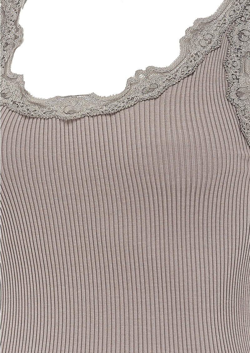 WIDE LACE SILK BLEND VEST - EARTH GREY main image