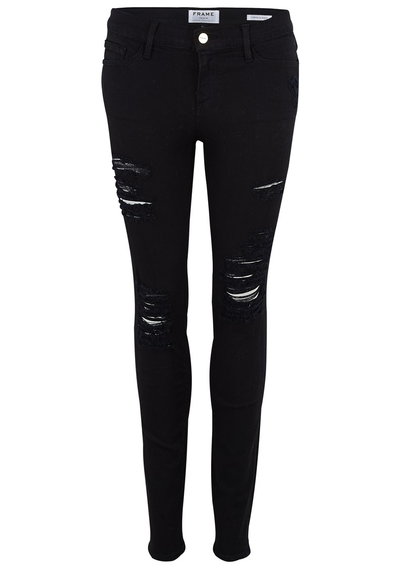 Frame Denim Le Skinny De Jeanne Mid Rise Ripped Jeans - Ripped Noir main image