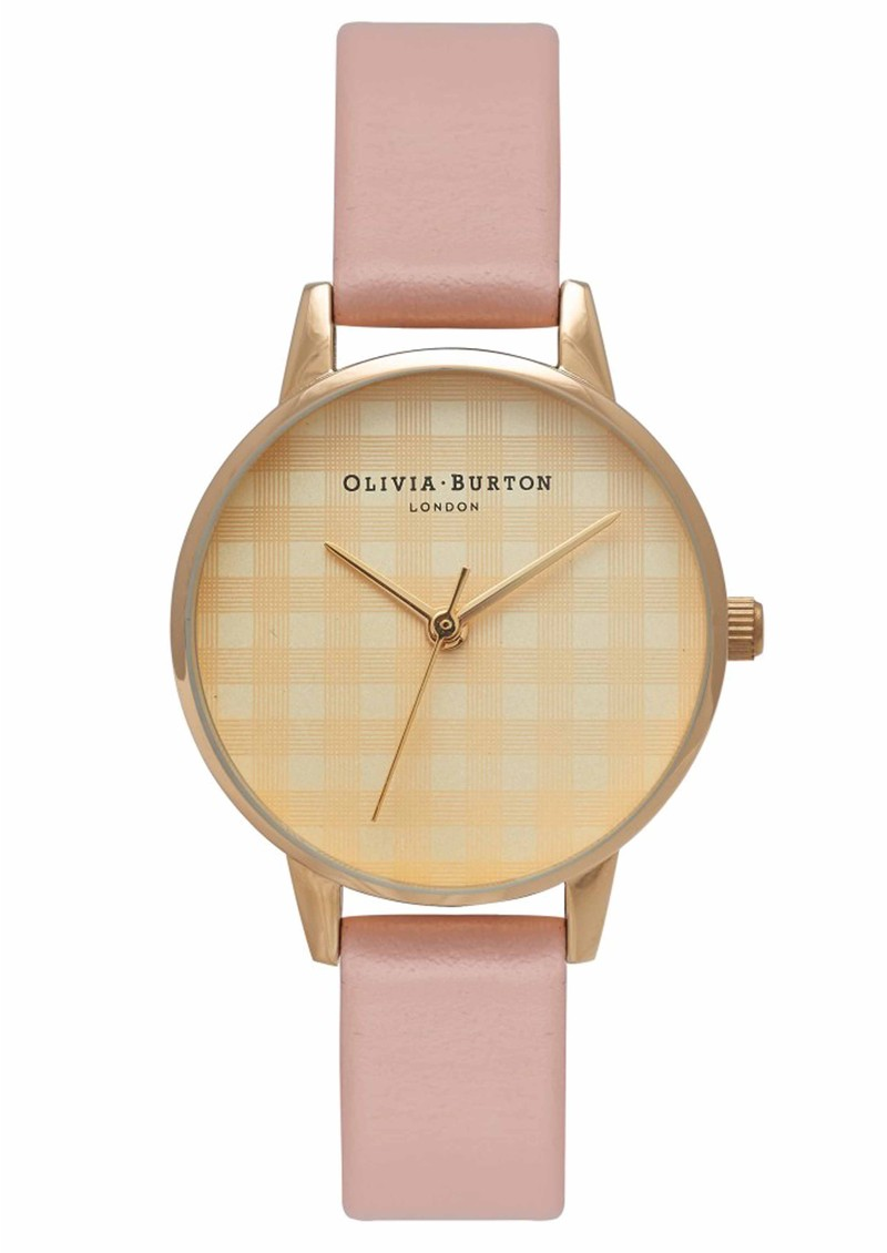 Olivia Burton CHECK DESIGN MIDI DIAL WATCH - DUSTY PINK & GOLD main image
