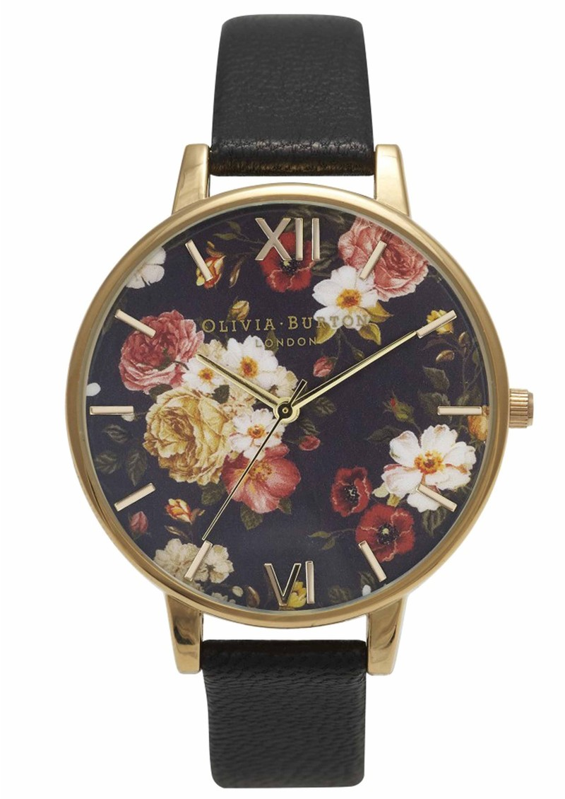 Olivia burton winter garden floral watch black gold for Winter watches