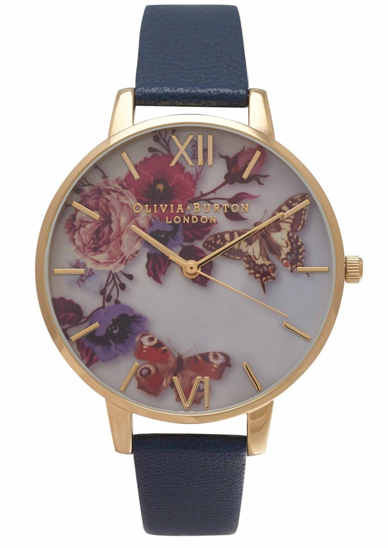 Olivia Burton WINTER GARDEN BIG DIAL WATCH - NAVY & GOLD main image