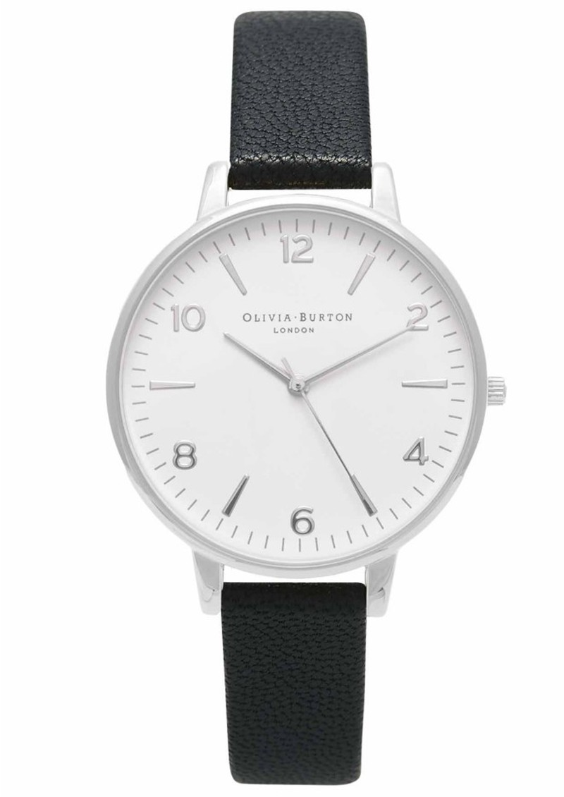 MIDI DIAL WHITE FACE WATCH - BLACK & SILVER main image