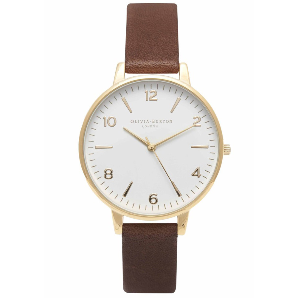 MIDI DIAL WHITE FACE WATCH - BROWN & GOLD