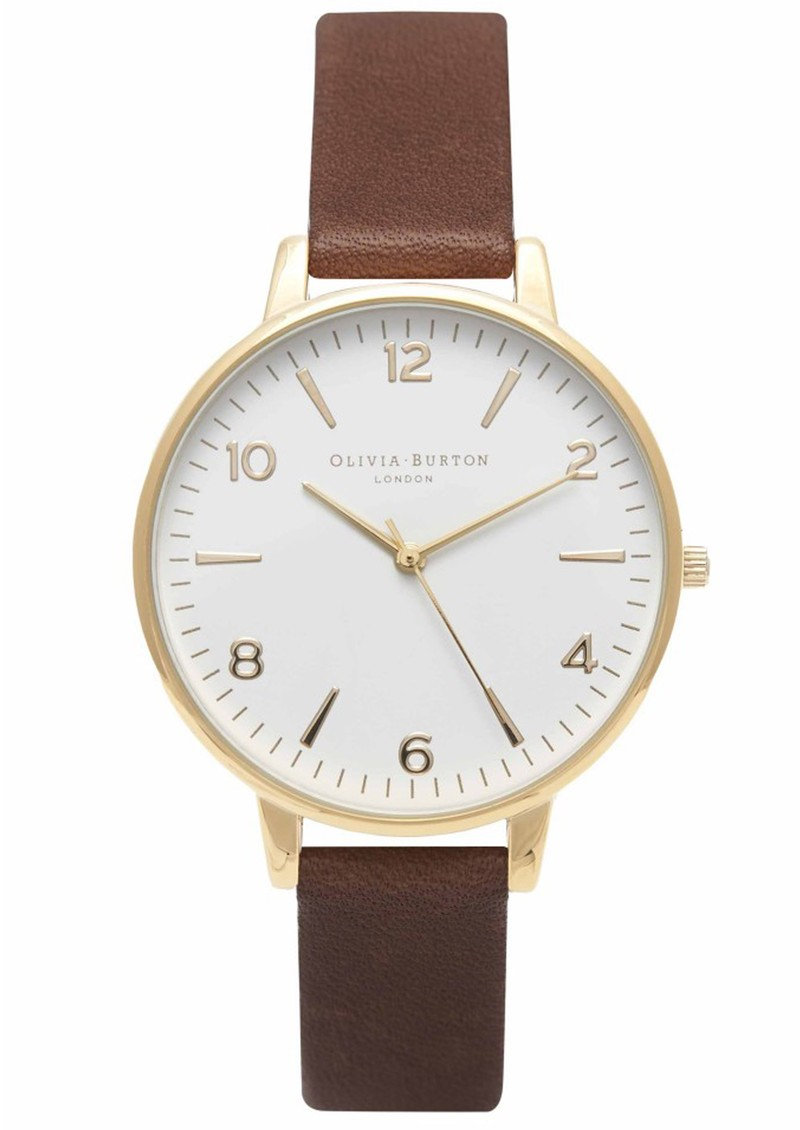 MIDI DIAL WHITE FACE WATCH - BROWN & GOLD main image