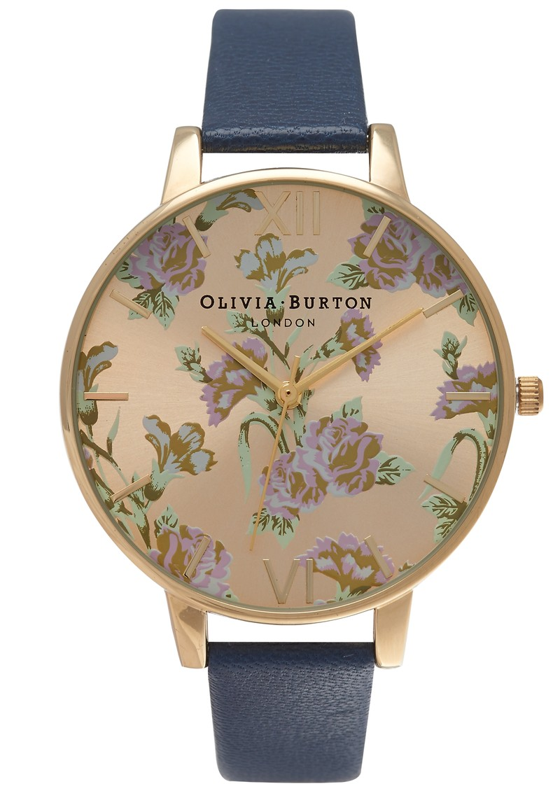 Olivia Burton PARLOUR FLORAL WATCH - NAVY & GOLD main image