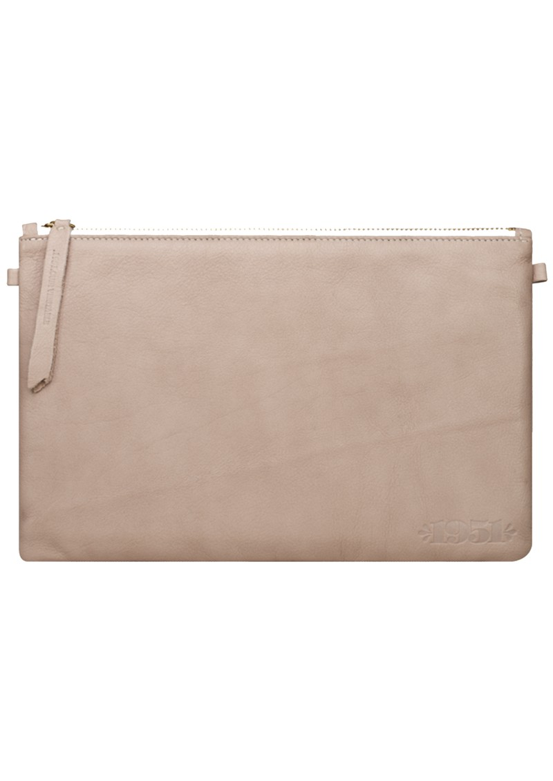 POUCHETTE LEATHER CLUTCH - NUDE main image