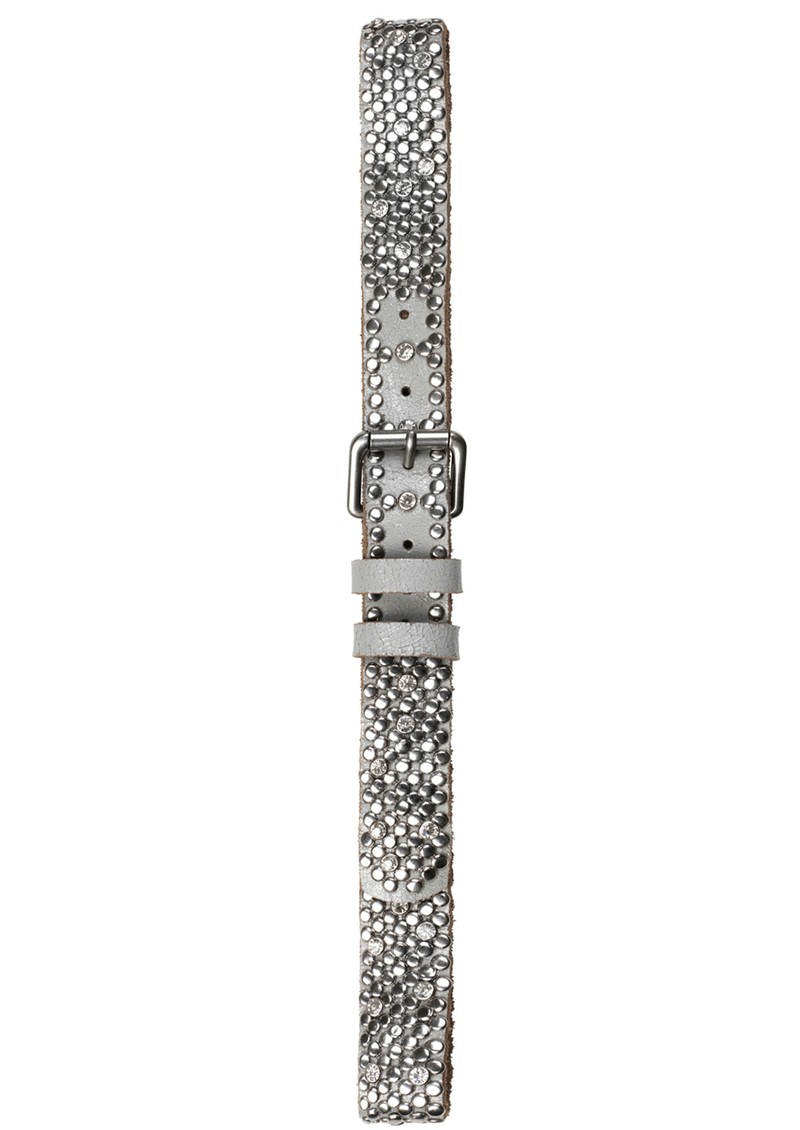L - DIAMONDS FOREVER STUD LEATHER BELT - SILVER main image