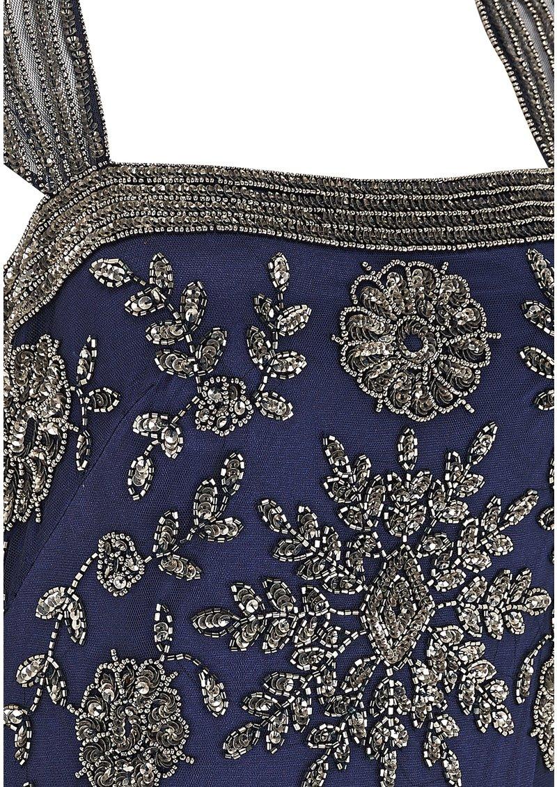 ADRIANNAPAPELL CAP SLEEVE BEADED LONG DRESS - NAVY main image