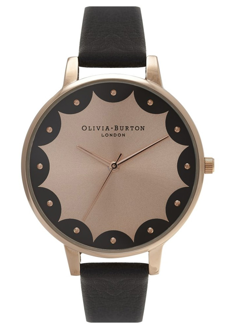 SCALLOPED EDGE BIG DIAL WATCH - BLACK & ROSE GOLD main image