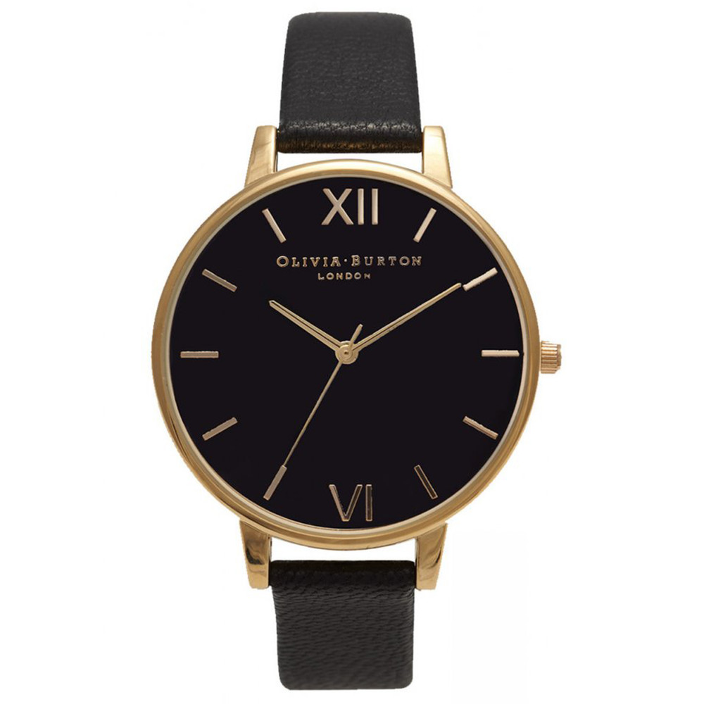 BIG BLACK DIAL WATCH - GOLD