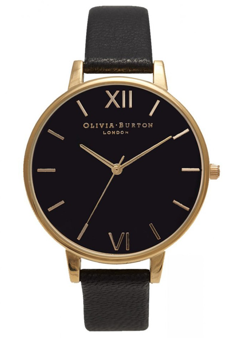 Olivia Burton BIG BLACK DIAL WATCH - GOLD main image