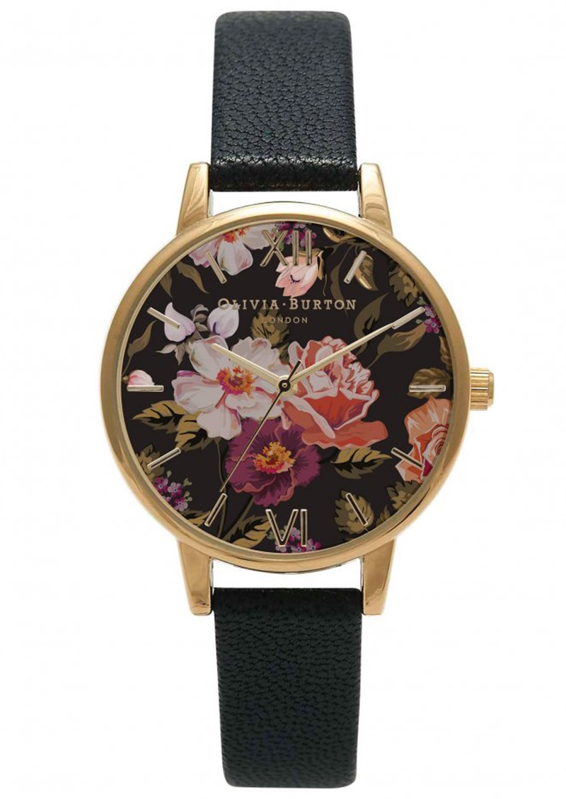 WINTER GARDEN FLORAL MIDI DIAL WATCH - BLACK & GOLD main image