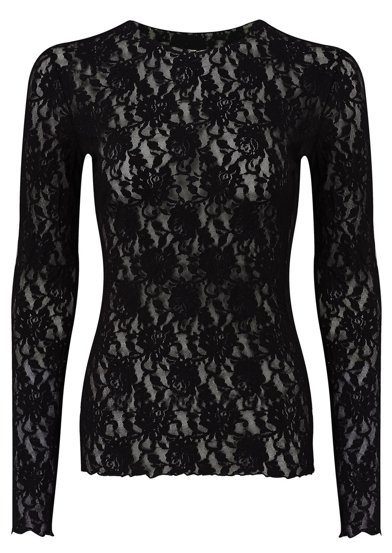 Hanky Panky UNLINED LONG SLEEVED LACE TOP - BLACK main image