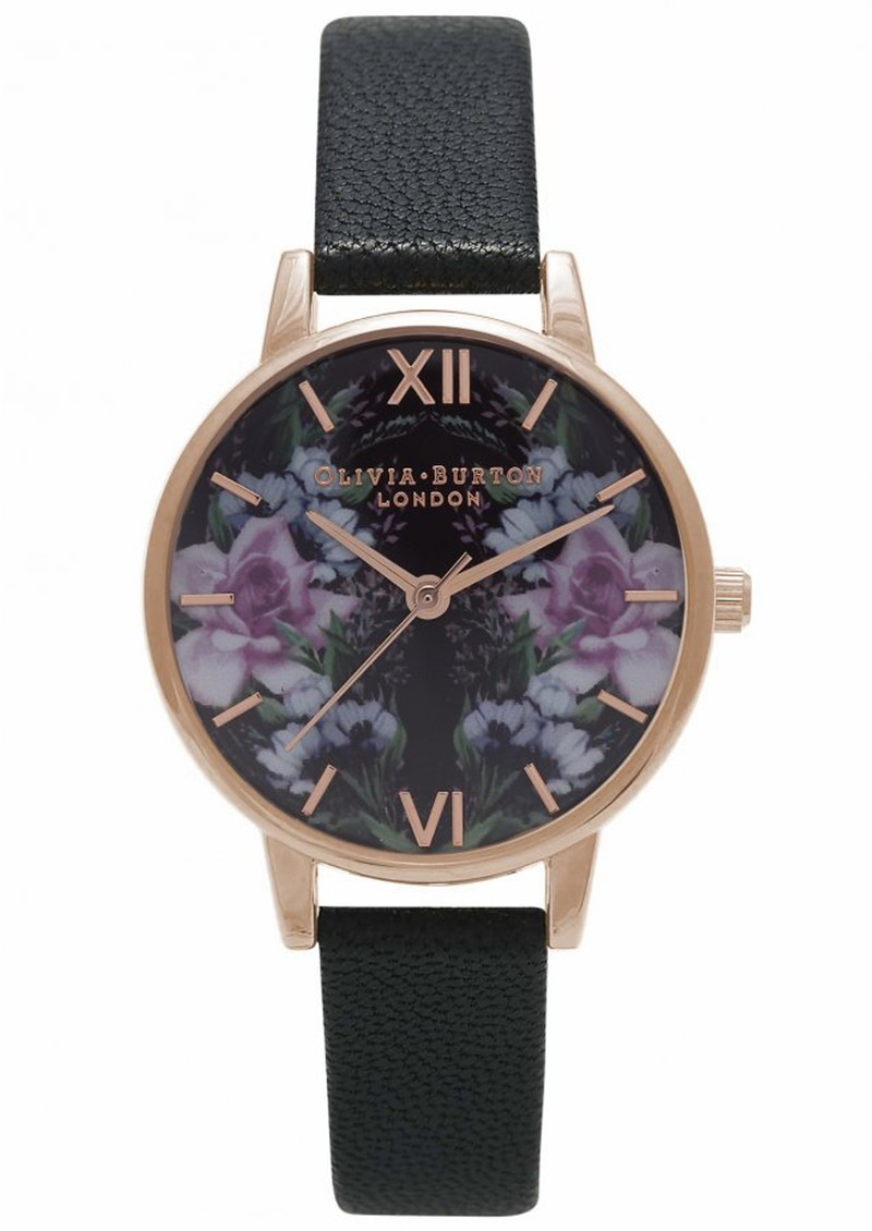 WINTER GARDEN MIRROR FLORAL WATCH - BLACK & ROSE GOLD main image
