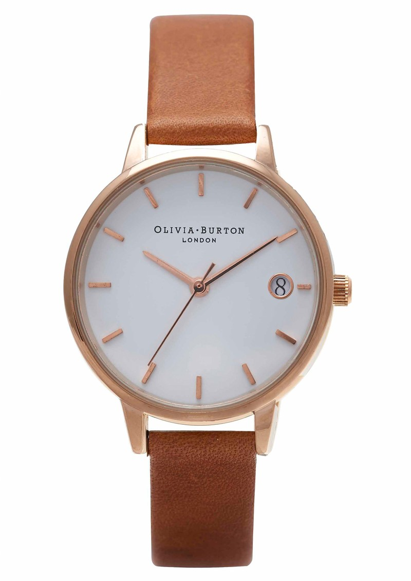 THE DANDY MIDI DIAL WATCH - TAN & ROSE GOLD main image