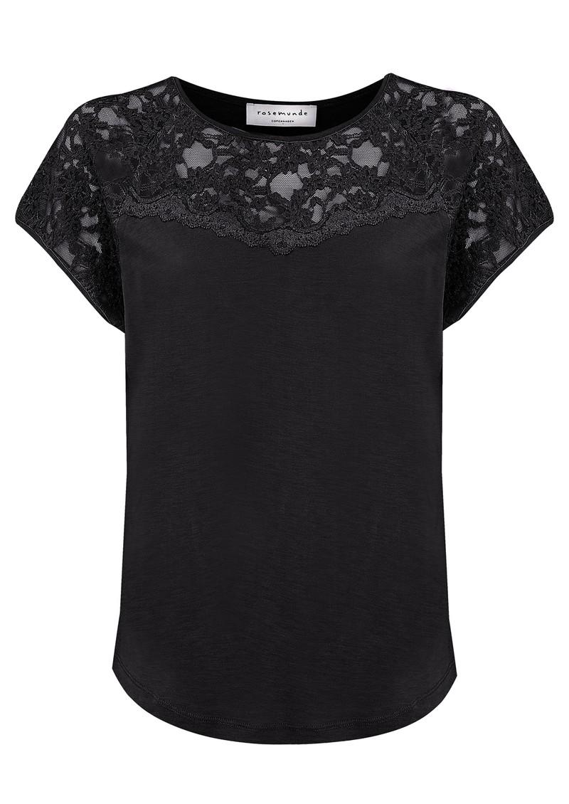 Rosemunde Short Sleeve Lace Detailing Top - Black main image
