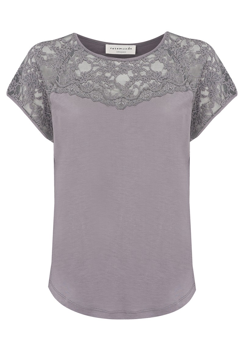 Rosemunde Short Sleeve Lace Detailing Top - Pearl Grey main image