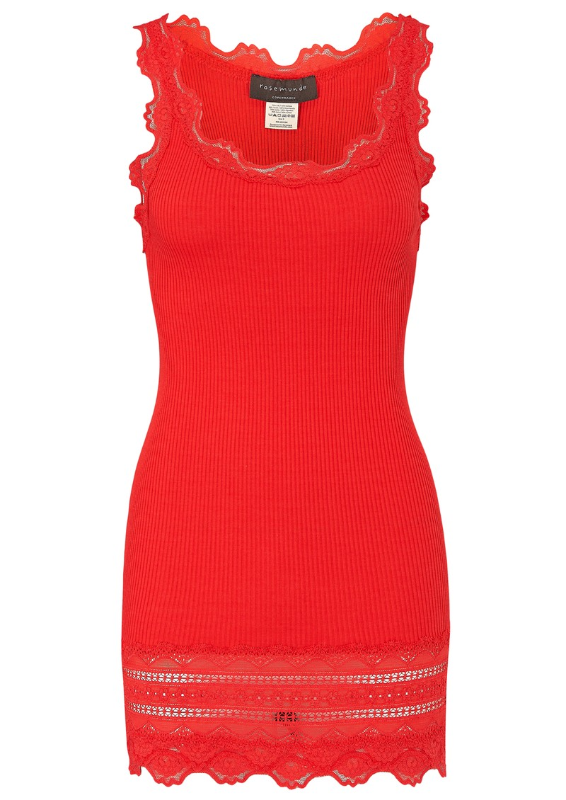 Rosemunde Wide Lace Silk Blend Tank - Red Berry main image