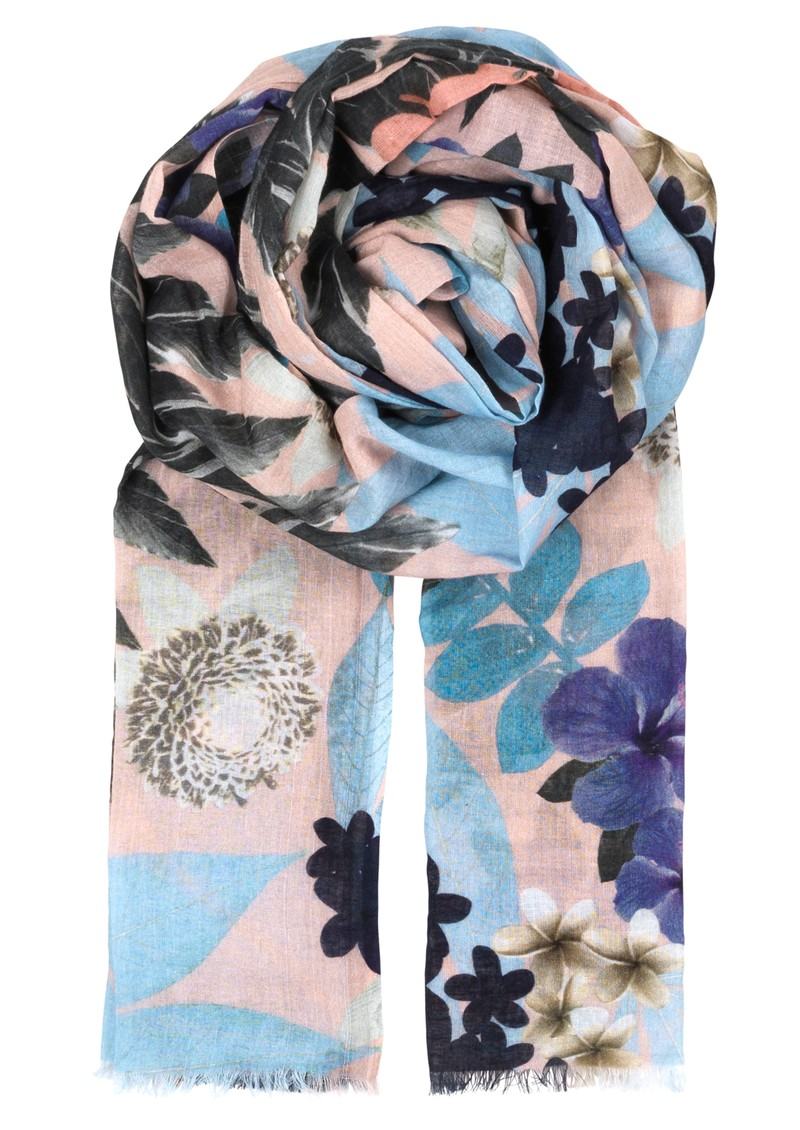O - WINTER BLOSSOM COTTON SCARF - COTTON CANDY main image