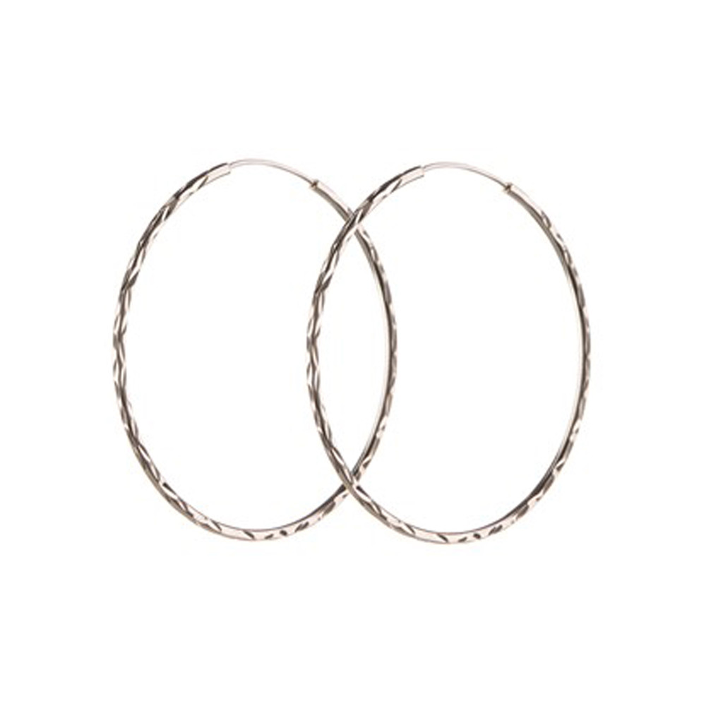 LARGE FACET CREOL HOOPS - SILVER