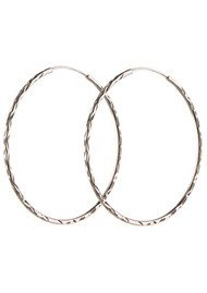 PERNILLE CORYDON LARGE FACET CREOL HOOPS - SILVER