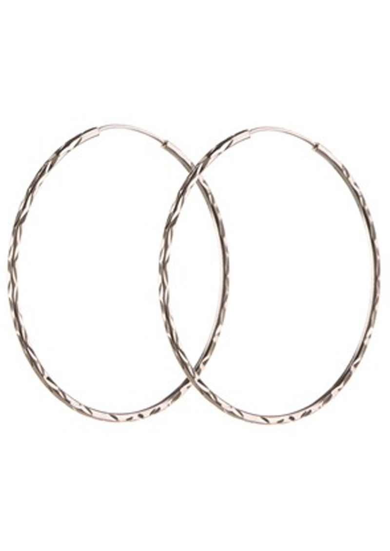 PERNILLE CORYDON LARGE FACET CREOL HOOPS - SILVER main image
