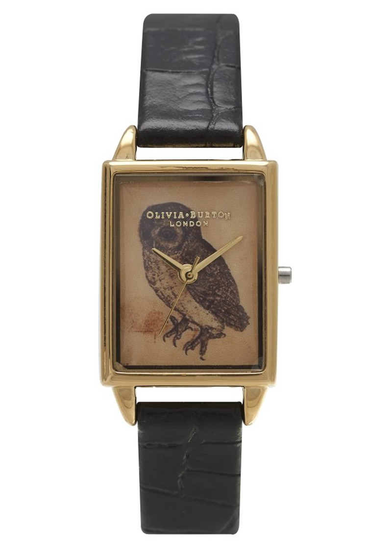 Olivia Burton Woodland Rectangular Owl Watch - Black Croc and Gold main image