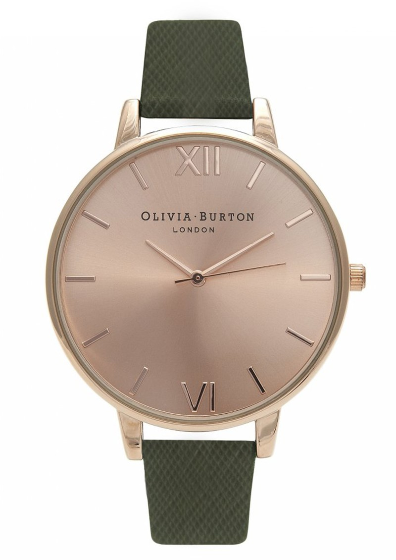 Olivia Burton Big Dial Watch - Rose Gold & Khaki Saffiano main image