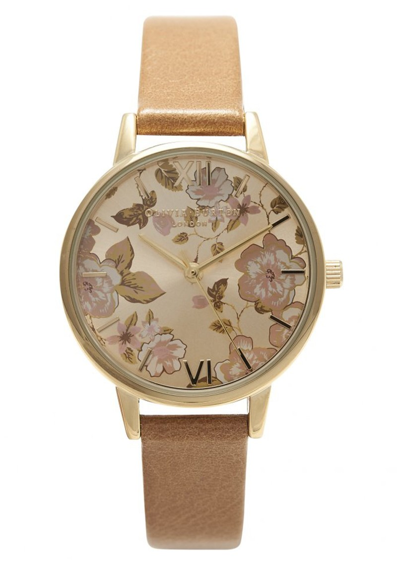 PARLOUR Floral MIDI DIAL WATCH - TAN & GOLD main image