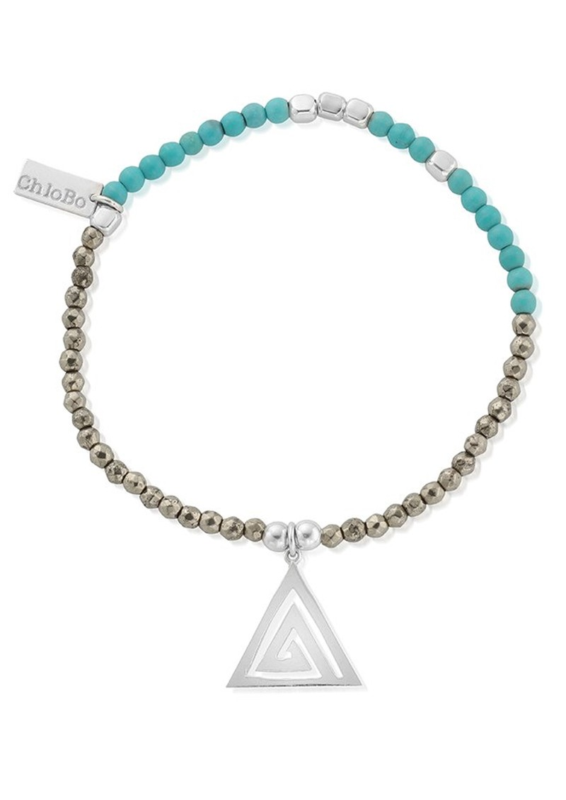 ChloBo Sun Dance Turquoise and Pyrite Bracelet with Aztec Triangle Charm - Silver main image