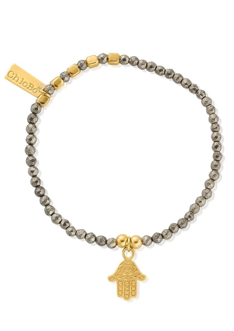 Sun Dance Pyrite Bracelet with Decorated Hamsa Hand - Gold main image