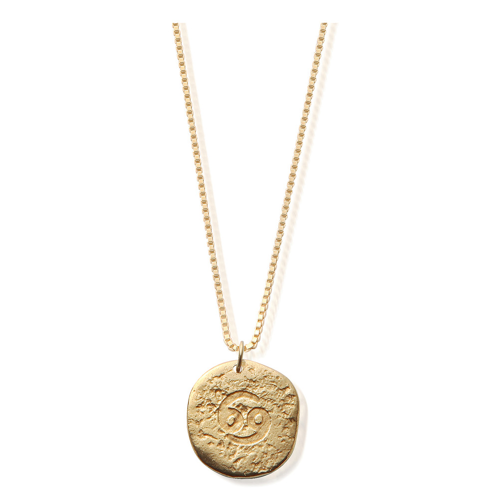Sun Dance Cancer Zodiac Necklace - Gold