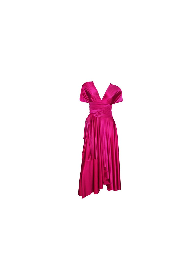 Signature Short Satin Dress - Raspberry main image