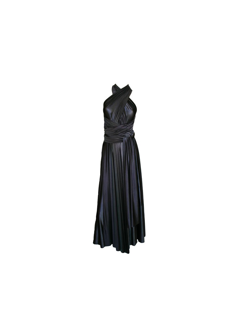 Long Satin Ball Gown - Black main image
