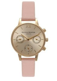Olivia Burton Midi Dial Chrono Detail Watch - Dusty Pink & Gold
