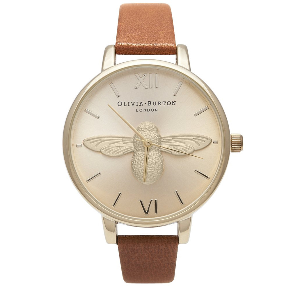 Woodland Moulded Bee Watch - Tan & Gold