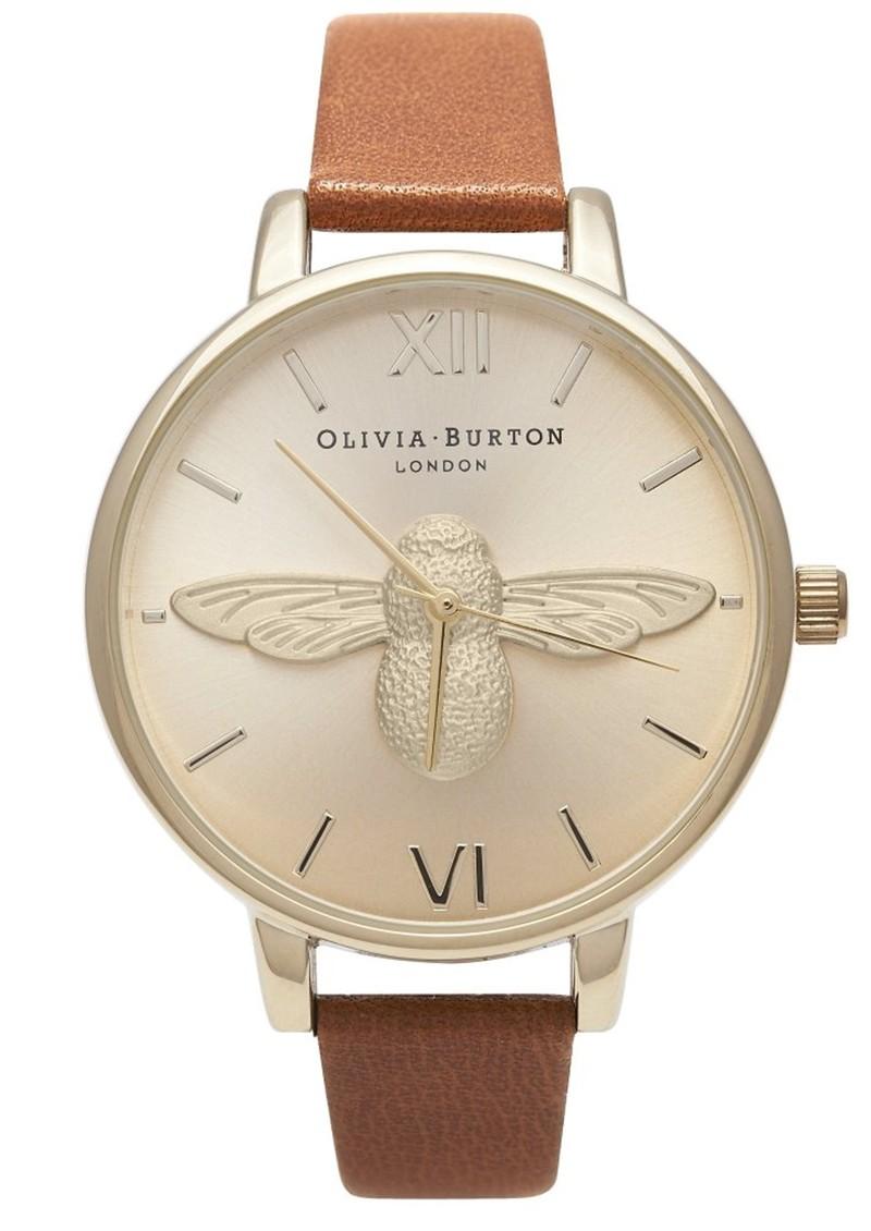 Olivia Burton Woodland Moulded Bee Watch - Tan & Gold main image