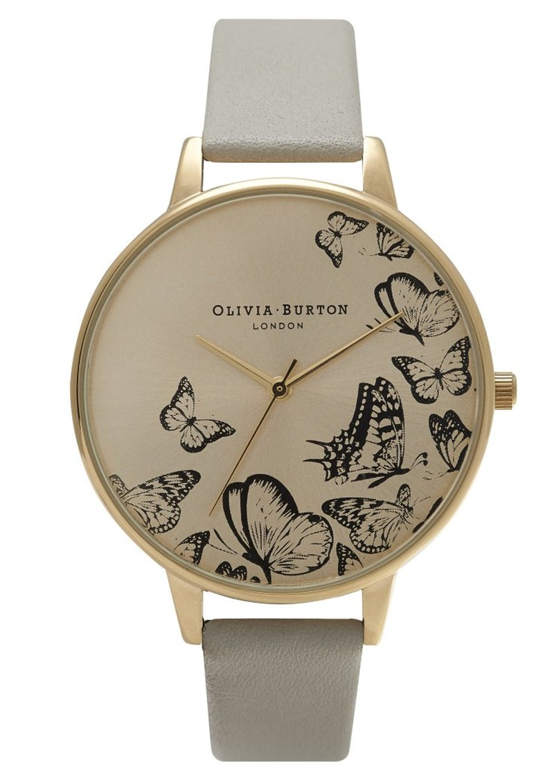 Animal Motif Multi Butterfly Watch - Grey & Gold main image