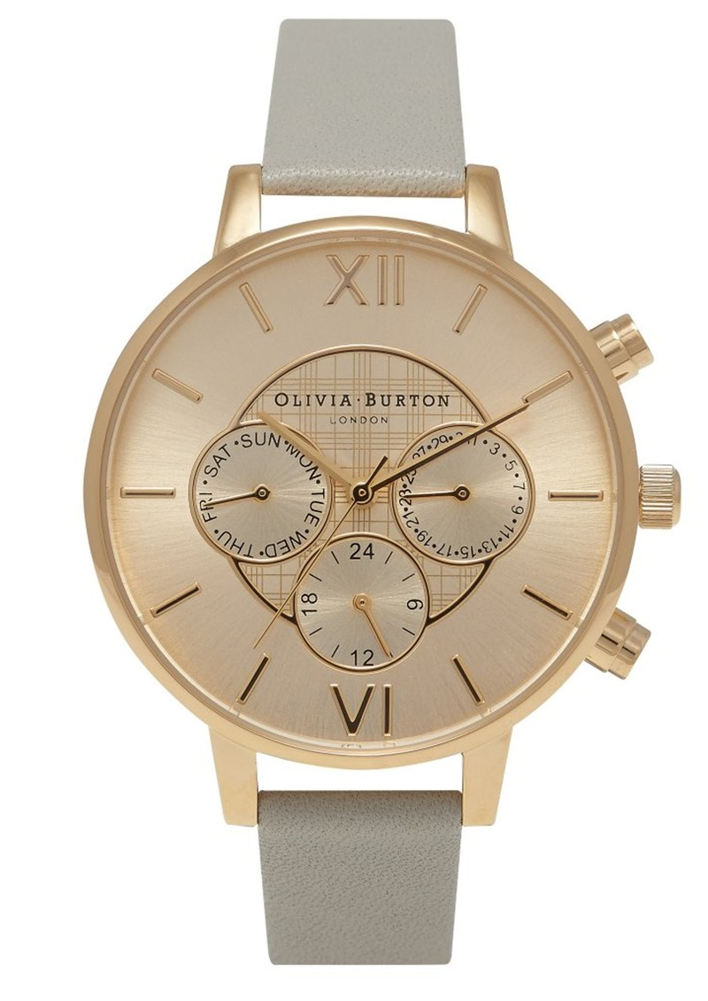 Olivia Burton Chrono Detail Check Watch - Gold & Grey main image