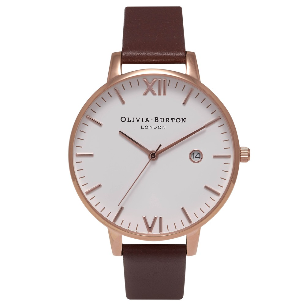Timeless White Face Watch - Brown & Rose Gold