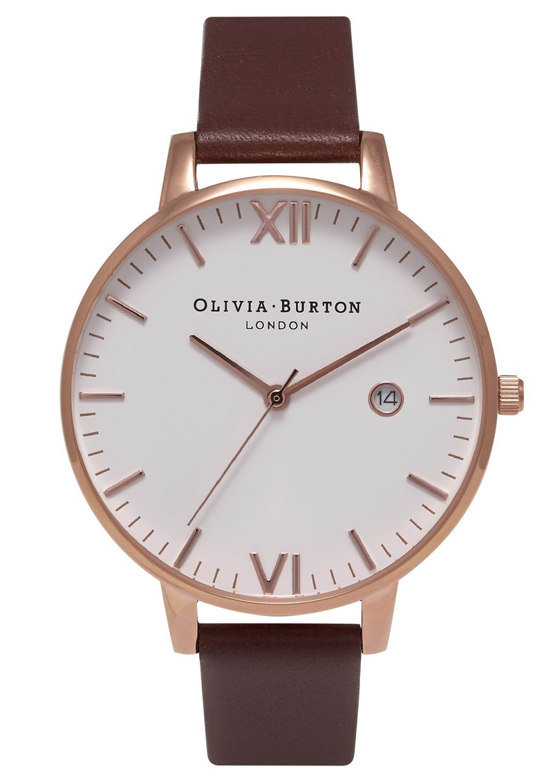 Timeless White Face Watch - Brown & Rose Gold main image